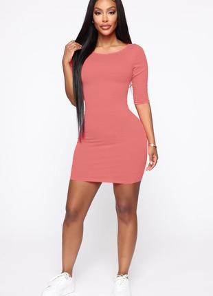 Базовое платье пыльно розовое, нюдовое