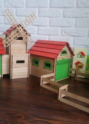 Конструктор деревянный 2 в 1. Мельница и ферма.