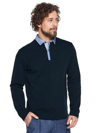 Стильная рубашка-поло с длинным рукавом от tchibo р. l