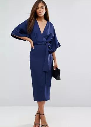 Стильное синее миди платье кимоно