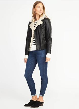 Черная кожаная куртка кожанка Old Navy Gap xs