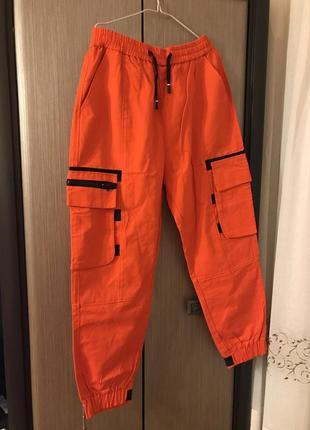 Ярко-оранжевые штаны карго xl
