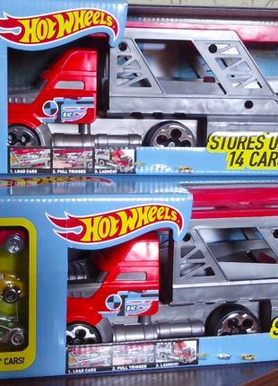 Hot Wheels трейлер 40 см и 3 машинки Хот Вилс автовоз пускатель