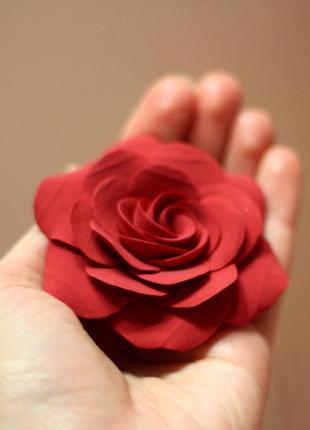 """Заколка-брошь """"красная роза"""". лучший подарок девушке"""