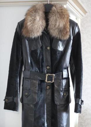 Кожанное пальто-куртка с меховыми вставками