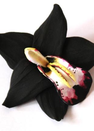 """Заколка цветок """"черная орхидея"""". украшения для волос"""