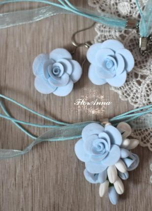 """Комплект украшений с цветами из полимерной глины """"воздушный"""" с..."""