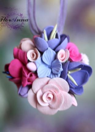 """Кулон с цветами из полимерной глины """"сиреневая мечта"""""""