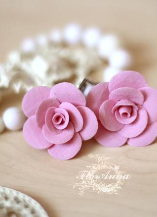 """Серьги ручной работы """"розовые розы"""""""