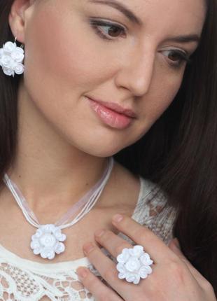 "Серьги+кулон+кольцо ""белые розы"""