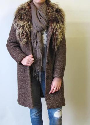 Эксклюзивное дизайнерское пальто, шерсть, мех ламы