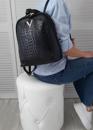 Черная сумка - рюкзак рептилия