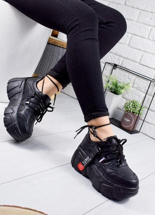 ❤ женские черные кроссовки ботинки сапоги полусапожки ботильон...