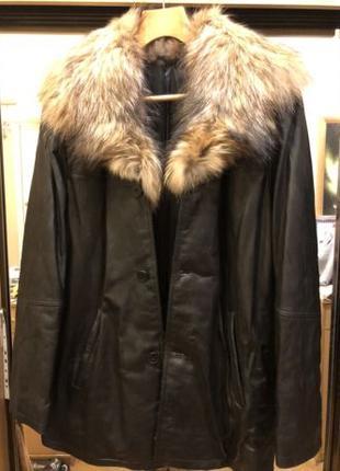 Куртка кожаная на меху полярного волка