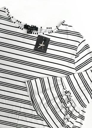 Скидка до 15.01! мягкая блуза в полоску с воланами на рукавах ...