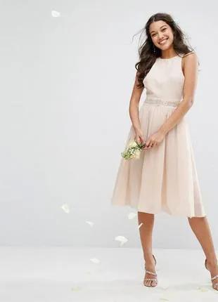 Вечернее миди платье из шифона