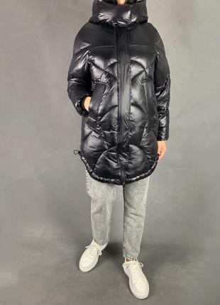 Куртка пуховик объёмный оверсайз бойфренд био пух