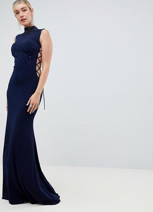 Синее вечернее платье в пол с стразами