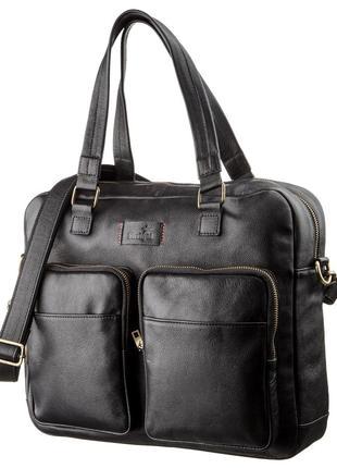 Мужская кожаная деловая сумка-портфель для ноутбука SHVIGEL 19...