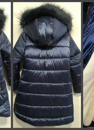 Зимняя куртка удлиненная пальто для девочки темно синий  плащё...