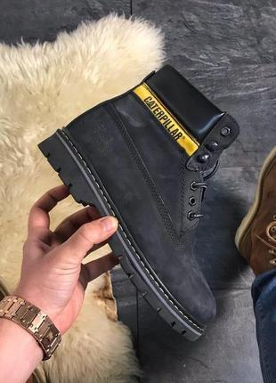 Женские черные ботинки с мехом caterpillar black fur.
