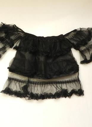 ✅шикарная блузка прозрачная с воланами и рюшами