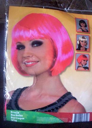 Парик маскарадный яркий розовый новый