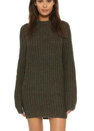 Тёплое вязаное платье-свитер.