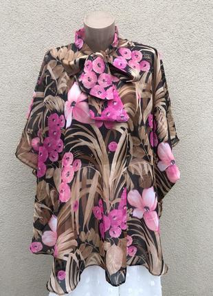 Винтаж,блуза с бантом,пончо,разлетайка,saxon,большой размер