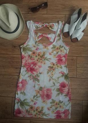 Цветочный принт короткое летнее платье мини сарафан туника new...