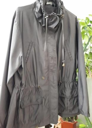 Серая ветровка плащевка куртка накидка укороченный плащ супер ...
