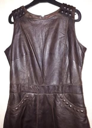 Стильное кожаное платье натуральная кожа платье-футляр очень м...