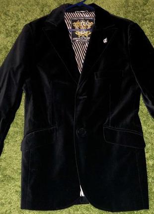 Темно-зеленый велюровый бархатный пиджак жакет. стильный.прита...