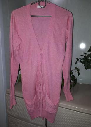 Нежно розовый кардиган накидка кофта на руговицах свитер джемп...