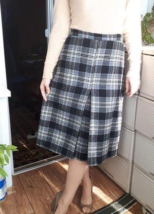 Теплая шерстяная юбка миди с подкладкой в клетку встречная скл...