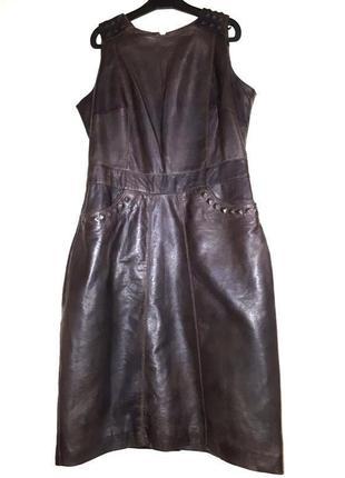 Новое кожаное платье чехол  миди сарафан m-l натуральная кожа ...