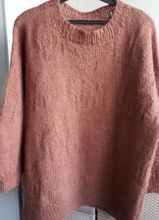 Мохеровый свитер ручной работы большой размер 109% шерсть