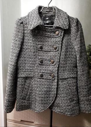 Шерстяное пальто двубортное полупальто отличного качества шинель