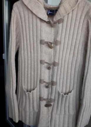 Молочная ангоровая кофта натуральный шерстяной кардиган с капю...