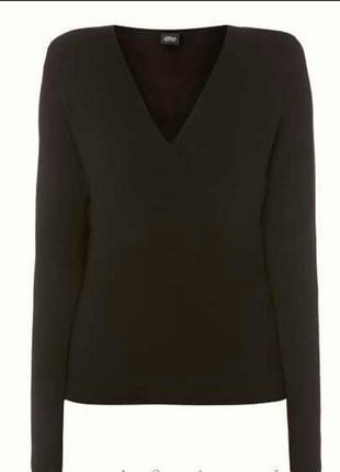 Шоколадный джемпер пуловер свитер с треугольным вырезом стрейч