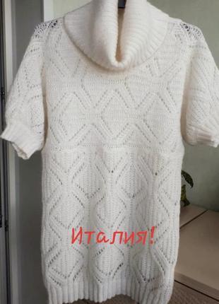 Итальянский мохеровый свитер гольф с укороченным рукавом белый...