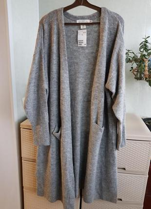 Теплый длинный кардиган с разрезами и карманами серая кофта
