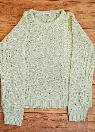 Коттоновый свитер оливково-салатовый джемпер