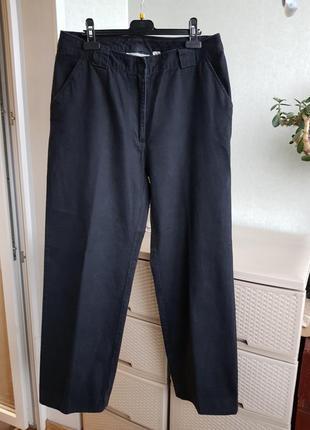 Коттоновые черные штаны джинсы бойфренды ровные