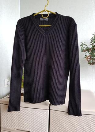 Италия! шерстяной черный джемпер v- вырез свитер