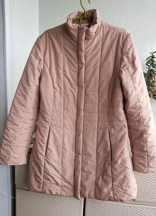 Италия! приталенное пальто на синтепоне пуховик цвет пудра