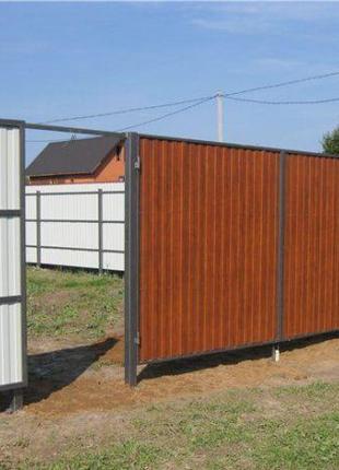 Заборы из профнастила , дерева , сетки , бетона . Ворота распа...