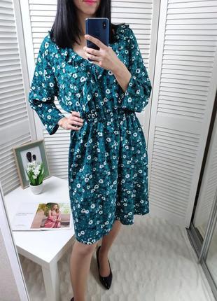 Платье бирюзовое в цветочный принт papaya, p-p uk 16/l