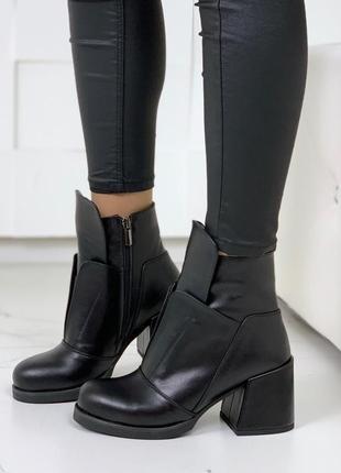Зимние кожаные ботильоны на каблуке,демисезонные ботинки из на...