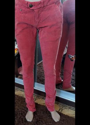 Велюровые джинсы с косыми корманами
